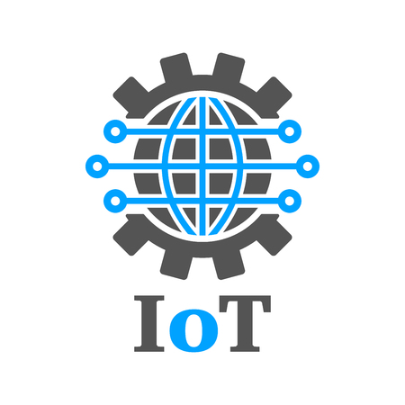 Earth in the form of a gear. Iot Gear Planet AI. Concept of global implementation of Iot and Industry 4.0. Internet of things, AI , Industry 4.0 technology Illusration. Innovative Technologies. Stockfoto - 125194301
