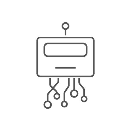 Robot head line icon. Signs and symbols can be used for web, logo, mobile app, UI, UX. Editable Stroke. EPS 10