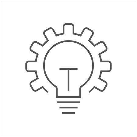 Vector innovation icon. Light bulb and gear. Premium quality graphic design element. Modern sign, linear pictogram, outline symbol, simple thin line icon