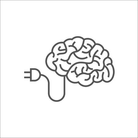 Brain Logo silhouette design vector template. AI and Think idea concept. Brainstorm power thinking brain Logotype icon Logo. EPS 10 Vettoriali
