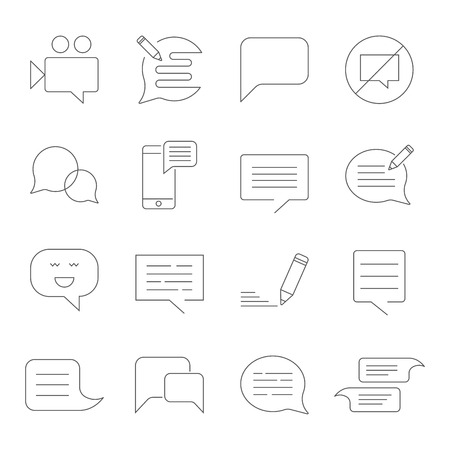 Set of Message Related Vector Line Icons. SMS, chat, message, speech, video mms and other. Ilustrace