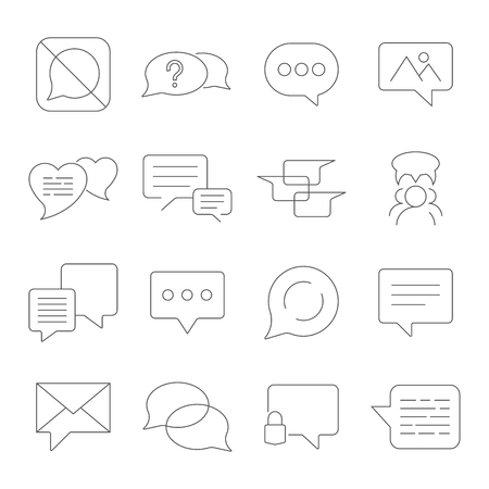Set of Message Vector Line Icons. Contains such Icons as Conversation, SMS, Heart, Love Chats, Notification, Group Chat and more. Editable Stroke. EPS 10 Illustration