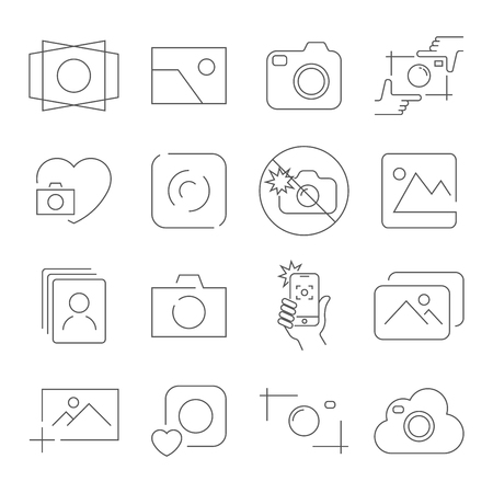 Camera icons on white background. Contains such as no flash, camera focus, photos, camera and other. Vector illustration. Editable Stroke. EPS 10