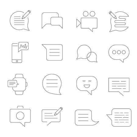 Set of Message Related Vector Line Icons. SMS, chat, message, speech, video mms and other. Stockfoto - 124923732