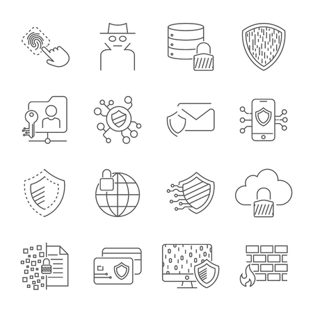 Icons set of information and internet protection. Digital data and Cyber Information Protection, Cryptography. The thin contour lines. Editable Stroke. EPS 10