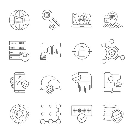 Set icons of cyber protection and Internet security. Technologes of Digital Safety. Vector Line Icons. Editable Stroke. EPS 10 Stock Illustratie