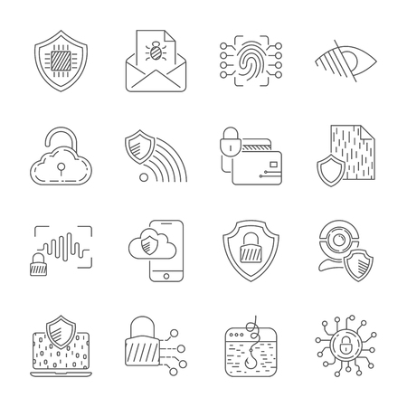 Set icons of cyber protection and Internet security. Technologes of Digital Safety. Vector Line Icons. Editable Stroke. EPS 10 Ilustração