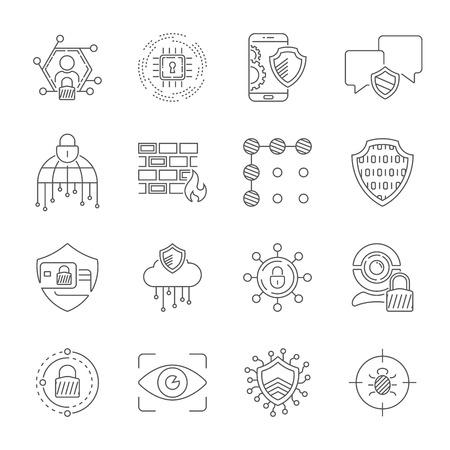 Sicurezza informatica, informazioni, dati e protezione della rete. Tecnologia di protezione, servizi web per il business e sicurezza in internet. Set di icone di linea sottile. Tratto modificabile. EPS 10 Vettoriali