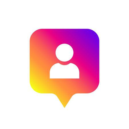 Social media notification icon, symbol. Follower instagram. Vector illustration. EPS 10