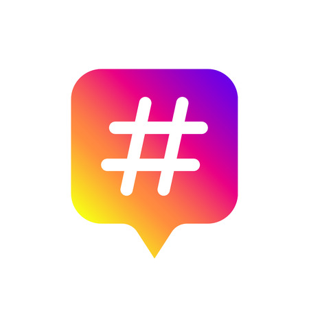 Color gradient icon template with hashtag for social media Instagram. Vector illustration. EPS 10