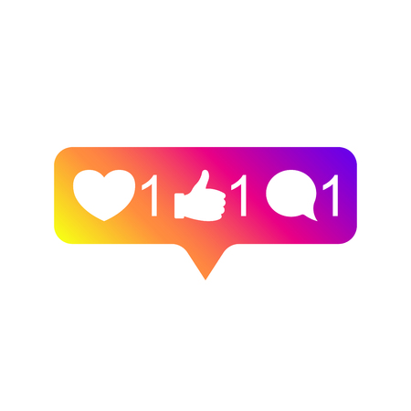 Social media Instagram modern like 1, follower 1, comment 1 gradient color. Like, follower, comment button, icon, symbol, ui, app, web. Vector illustration. EPS 10.