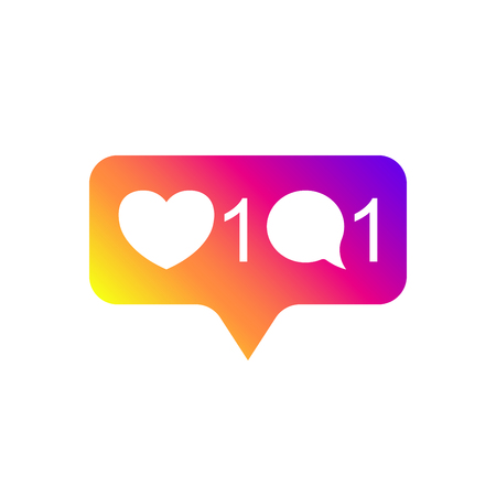 Social media Instagram modern like 1, comment 1, gradient color. Like, follower, button, icon, symbol, ui, app, web. Vector illustration. EPS 10.