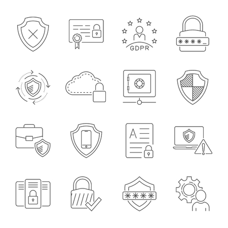Cyber security technology network vector icons set. Technologes of digital protection. Editable Stroke. EPS 10