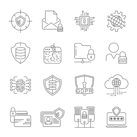 Data Privacy icons set. Included the icons as security information, data protection, shield, compliant, personal data, database and more. Illustration Vector. EPS 10 Stock Illustratie