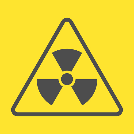 Radioactive warning yellow sign. Vector Illustration. EPS 10