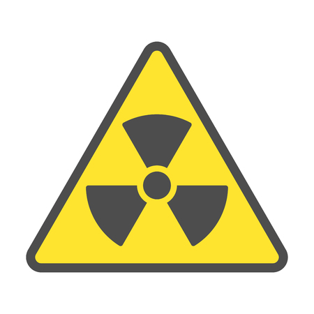 Radioactive zone, vector sign or symbol. Warning radioactive zone in triangle icon isolated on yellow background with stripes. Radioactivity. Dangerous Ilustração