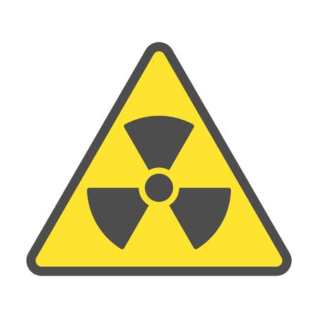Radioaktive Zone, Vektorzeichen oder Symbol. Warnende radioaktive Zone im Dreiecksymbol isoliert auf gelbem Hintergrund mit Streifen. Radioaktivität. Gefährlich Vektorgrafik