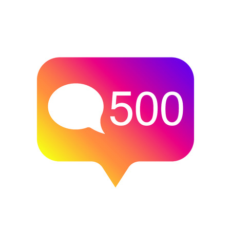 Counter notification Icon, color gradient. Social media 500 like icon. Element for social network, web, ui, mobile, app. Vector illustration. EPS 10