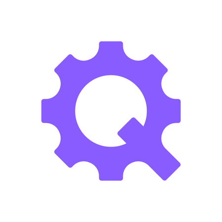 The letter Q in the form of a gear. The concept of technological and innovation. Vector Illustration. EPS 10