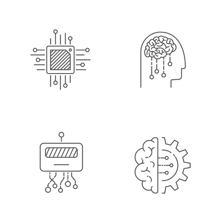 AI icons set. Artificial intelligence icons. Editable Stroke. EPS 10