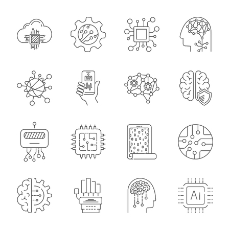 Simple Set of Artificial Intelligence Related Vector Line Icons. Editable Stroke. EPS 10