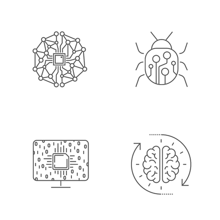Simple set of artificial intelligence related line icons. AI, Iot, hi-tech. Editable Stroke. EPS 10