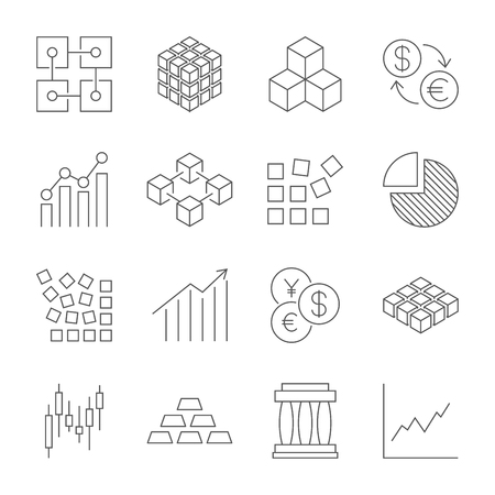 Market Trading Icons Set. Vector line icons. Contains icons such as stock exchange, trading, currency exchange, blockchain and more. Editable Stroke. EPS 10 Stock Illustratie
