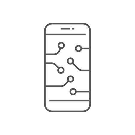 Smartphone device icon. Digital Technology, AI concept, AI, IoT. EPS 10 Stock Illustratie