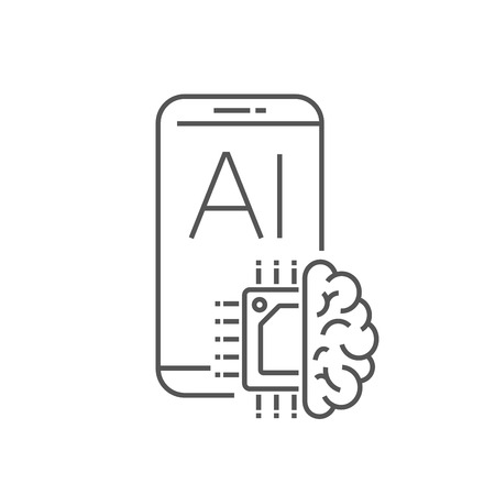 Smartphone device icon with AI processor design. Digital Technology, AI concept, IoT. EPS 10