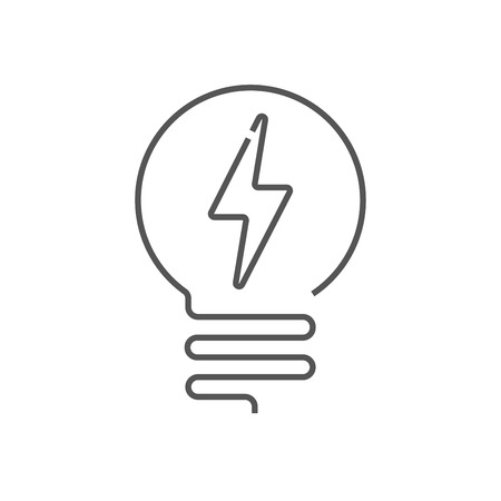 Light Bulb line icon vector, isolated on white background. Idea sign, solution, thinking concept. Lighting Electric lamp. Electricity, shine. Trendy Flat style for graphic design, web, UI. EPS 10