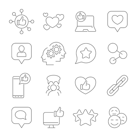 Social media and social network icons. Vector icons set. Editable Stroke. EPS 10