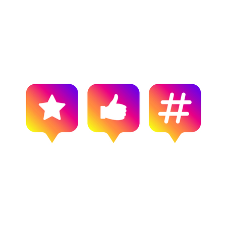 Social media modern sign. Like, follower, hashtag, gradient color. Like button, icon, symbol, ui, app, web. Vector illustration. EPS 10.