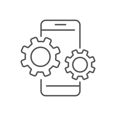 Smartphone device icon with gears. Settings in smartphone. Digital Technology, AI, IoT. EPS 10