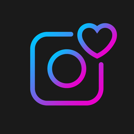 Camera vector icon with heart, social symbol. Simple, flat design for web or mobile app. Gradient color sign. Vector Illustration. EPS 10