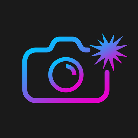 Web icon of modern line art camera. Camera with flash. Digital application pictogram. Vector Illustration. EPS 10