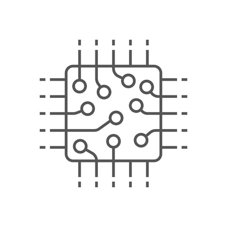 Processor icon, CPU, GPU, chip. Technology computer chip icon in line style. Editable Stroke. EPS 10