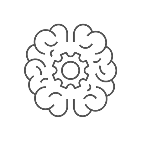 Human brain with cogwheel inside linear icon. Artificial intelligence concept. Technology progress. Thin line illustration. Contour symbol. Vector isolated outline drawing. Editable stroke. EPS 10