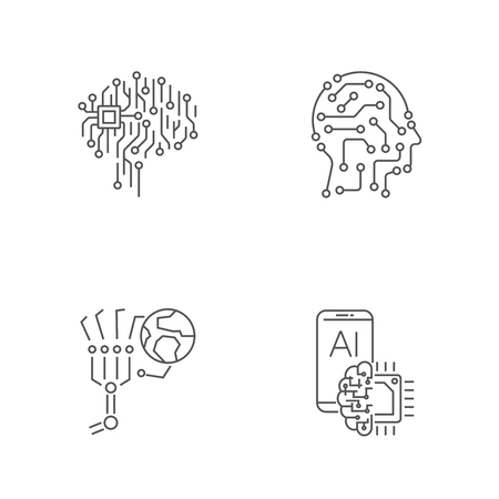 Simple set of digital technology icons. AI, IoT, Industry 4.0, hi-tech. Editable Stroke. EPS 10