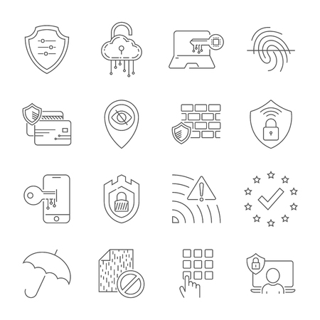 Internet security and digital protection line icons set. Design signs for web, app, ui. Modern perfect vector illustration. Editable Stroke. EPS 10 Stock Illustratie