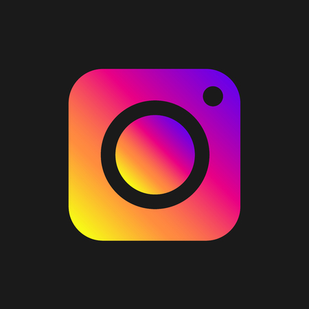 Colorful vector image of icon photo digital camera on dark background. Modern sign app, program, ui, web. EPS 10