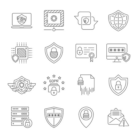 Cyber protection and Internet security icons set. Protect in digital technology. High quality symbols for use in web, UI, apps. Editable Stroke. EPS 10