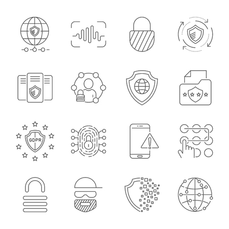 GDPR Data Privacy vector icon set. Included the icons as security information, data protection, shield, certificate, compliant, personal data, database and more. Editable Stroke. EPS 10 Stock Illustratie