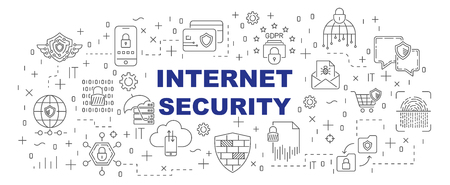 Internet Security vector banner design concept, line style with thin line art icons on white background. Editable Stroke. EPS 10