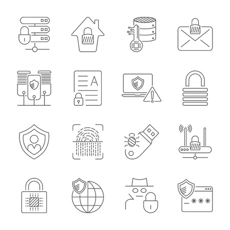 Data Privacy vector icon set. Included the icons as security information, data protection, shield, certificate, compliant, personal data, database and more Stock Illustratie