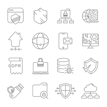 Internet technology, online services. data, information security, connection technology, GDPR. Thin line web icon set. Editable Stroke. EPS 10