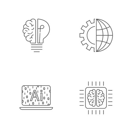 Digital technology icons set. AI, IoT, Hi-Tech concept. Editable Stroke. EPS 10