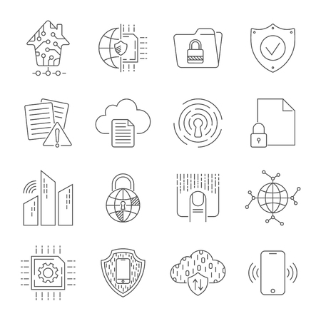Simple set of abstract electronics and digital technology related vector line icons. Editable Stroke. EPS 10