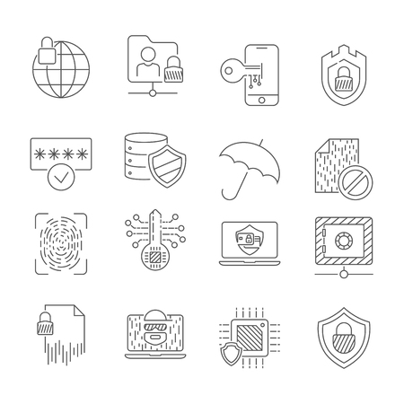 Data protection and security network icons set. Editable Stroke. EPS 10