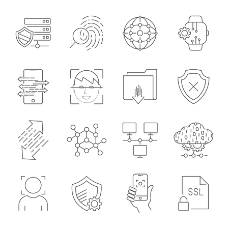 Cyber technology, networks, protection, connection. Vector icons set. Technologies of digital space. Editable Stroke. EPS 10 Stock Illustratie