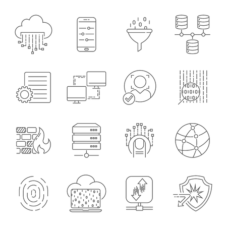 Computer technology related line icon set. Data transfer and computer options linear vector icon collection. Editable Stroke. EPS 10